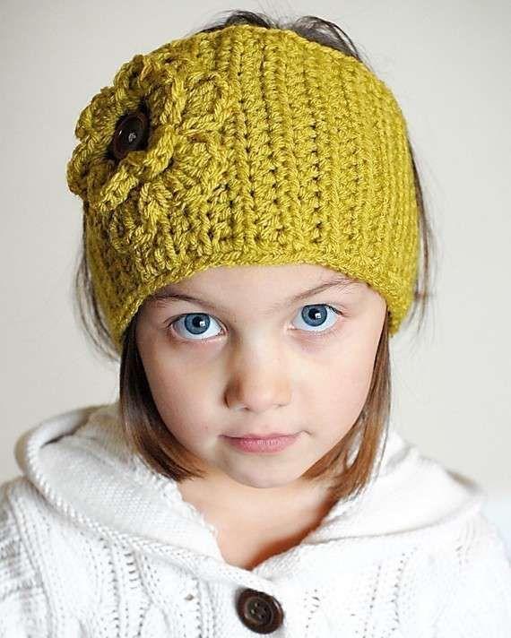 Lavori all'uncinetto: fascia per capelli - Fascia per capelli con fiore per bambine