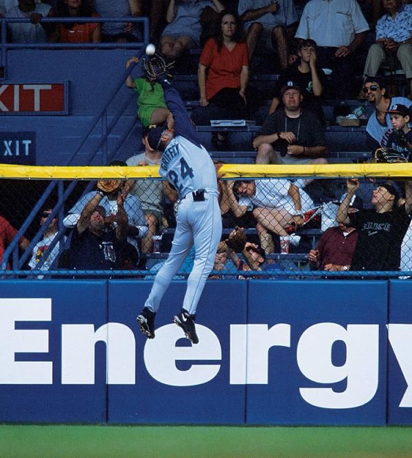Ken griffey Jr. robs a home run at Tiger Stadium....watched this game on tv, best catch I've ever seen live