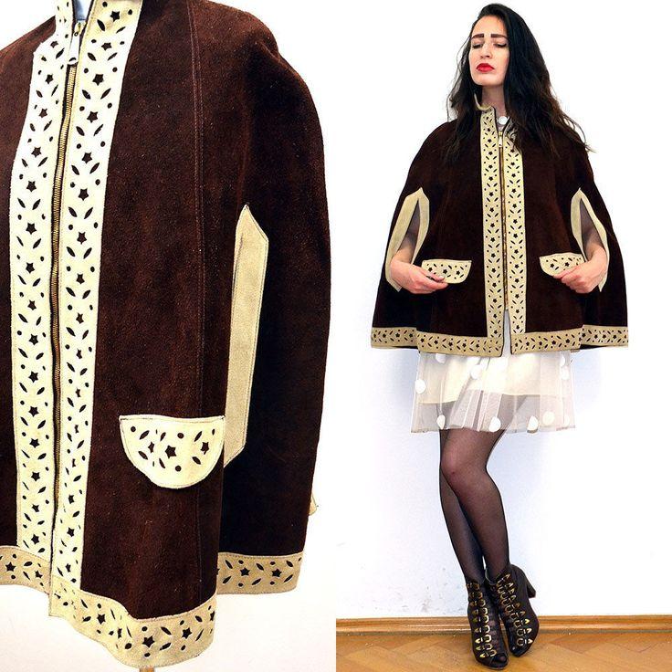 Vintage LEATHER Cape mesh Cut Out Lace festival Poncho jacket Navajo 70s Hippie