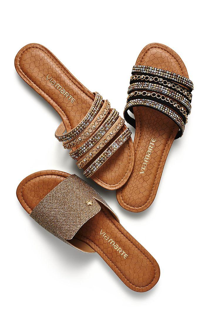 rasteiras - chinelos - rasteirinhas - brilho - metalizado - Verão 2016 - Ref. 15-15606 | 15-15601