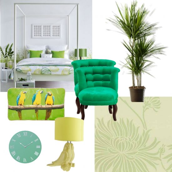 If you've got jungle fever, this bedroom is for you. Jungle style doesn't have to be cluttered, as this great room shows. Keep it sleek and mimalist, with accents of green