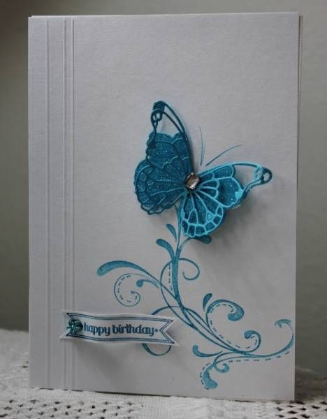 Like the use of the score lines on the body of this card, the one coloring, and always a fan of the layered butterfly. FS289 Maureen's card by Holstein - Cards and Paper Crafts at Splitcoaststampers