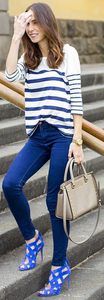 Pull & Bear White And Blue Women's Nautical Striped Sweater