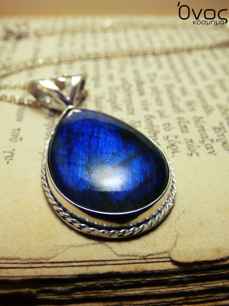 """"""" Mystic blue Μermaid """" - Χειροποίητο επάργυρο μενταγιόν με σκούρο Blue royal Λαβραδορίτη!"""