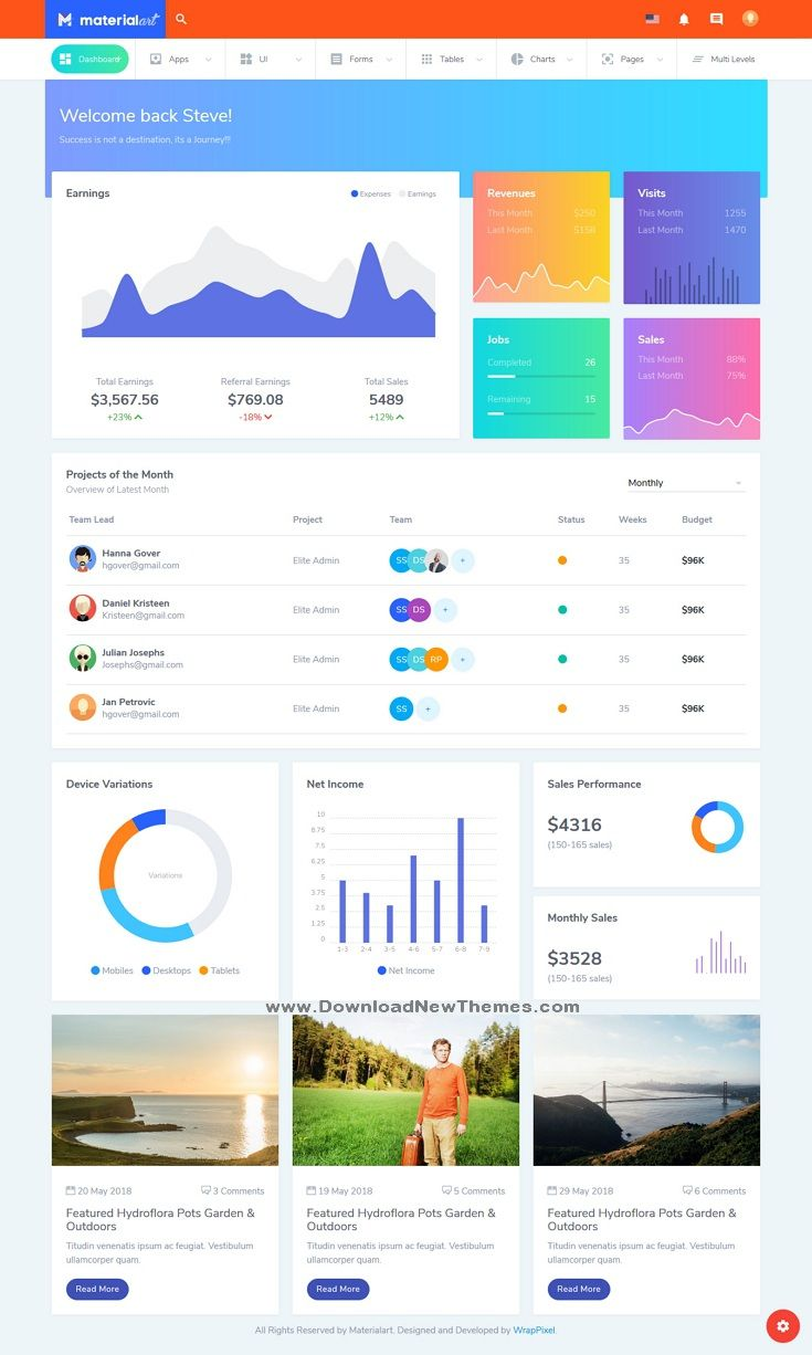 Materialart Is A Clean And Modern Material Design Responsive Html
