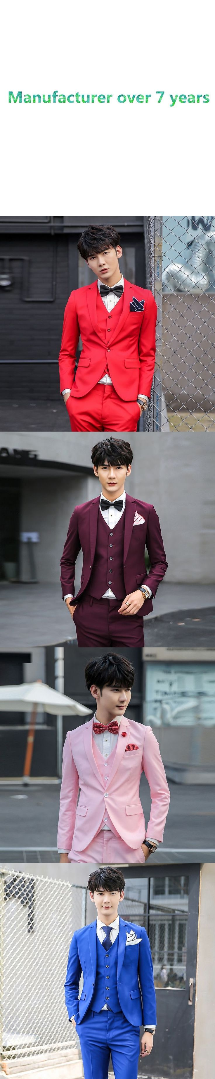2017 Spring 3 pieces ( jacket+pants+vest) pink mens prom suits terno masculino red men suits perfume masculino #mens3piecesuits