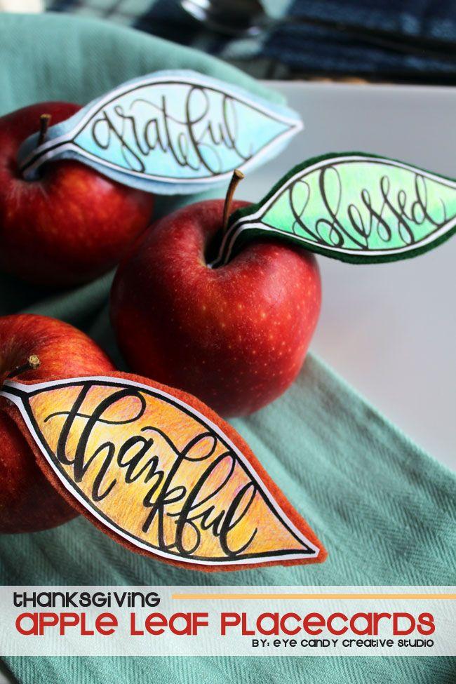 apple leaf placecards for Thanksgiving & Friendsgiving @eyecandycreate #handlettering #friendsgiving #thanksgivingcards #tombowpro #appleplacecards