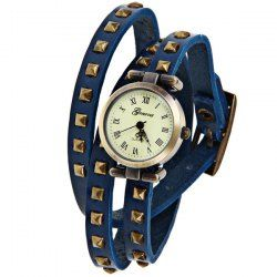 $4.26 Geneva Quartz Watch 12 Roman Number Indicate Leather Watch Band for Women (Blue)
