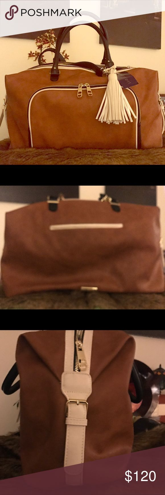 Madden New w/ tags duffle Perfect condition. Tan and bone color are neat and clean. Nice bag Madden Girl Bags Backpacks