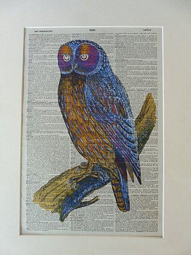 Owl Wall Art Print No.368 owl decor owl poster by DecorisDesigns