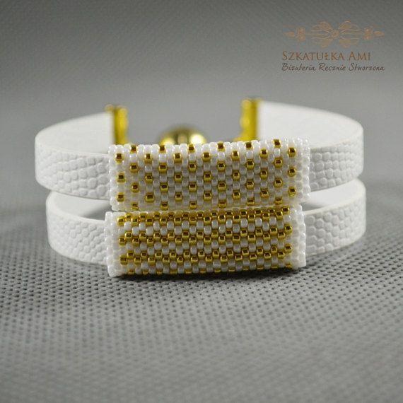 Gold White Double snake bracelet strap Braided for women beads