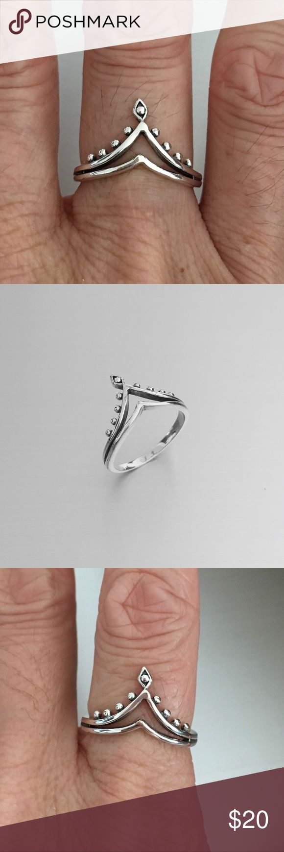 Sterling Silver Double V Shape Ring Sterling Silver Double V Shape Ring, Toe Ring, Midi Ring, Pinky Ring, Index Ring, Thumb Ring, 925 Sterling Silver, Face Height 13 mm Jewelry Rings