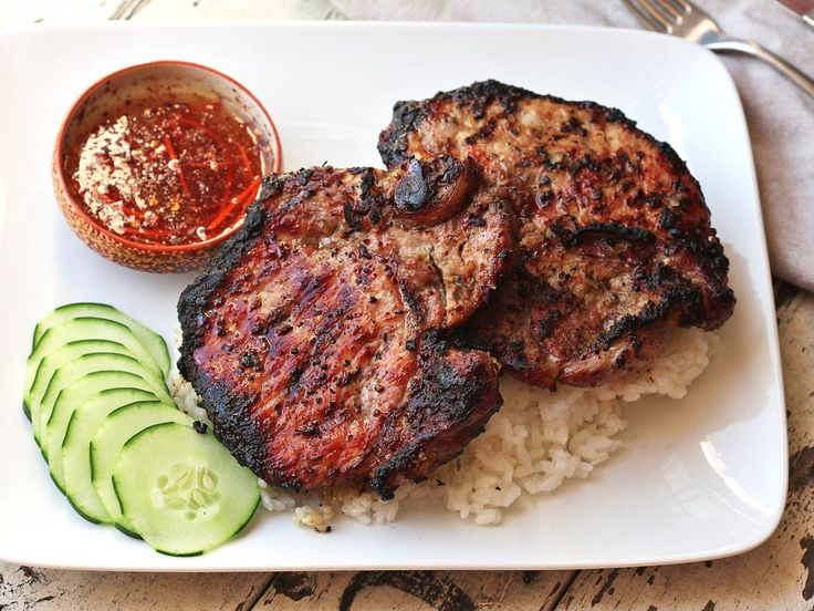 Vietnamese Pork Chops Recipe (– 1 small shallot, finely chopped – 1/3 cup (packed) light brown sugar – 1/4 cup fish sauce (nuoc nam) – 2 tablespoons unseasoned rice vinegar – 1 teaspoon freshly ground black pepper – 4 1″ thick-cut bone-in pork chops (about 2 1/2 pounds total) – 1 tablespoon vegetable oil – Kosher salt – Lime halves (for serving) Click image for instructions)