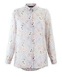 Grey Chiffon Floral Print Long Sleeve Shirt | New Look