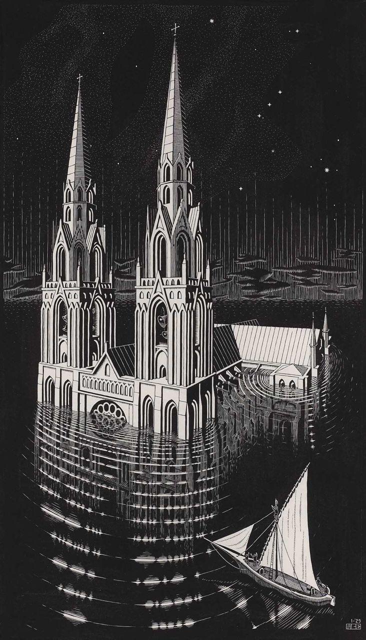 M. C. Escher - zatopiona katedra, 1929. W legendzie Ys mityczne miasto Breton, które leży poniżej poziomu morza, jest pogrążone w wodzie. Córka króla, oślepiona miłością, otwiera bramy dla swego kochanka. Według legendy kontury katedry sporadycznie wzrastają z mgły, podczas gdy dzwony wieży wydają się mniejsze