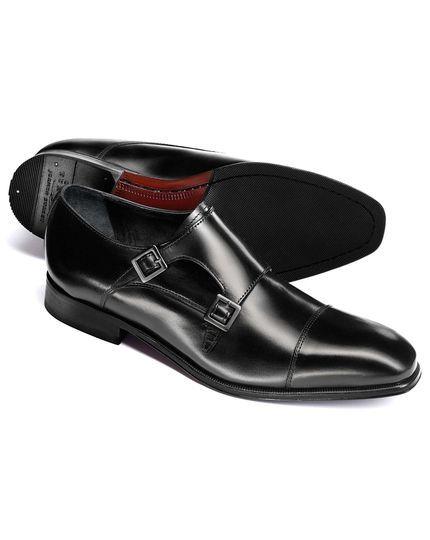 Black Fenwick toe cap double buckle monk shoes