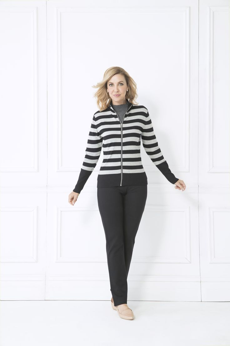 Feel truly cosy in the Petra Cardigan. Your new favourite piece for those chilly days. Wear with black leggings and a cami for a casual look perfect for keeping fit or lounging.  Long sleeve Zip front Contrasting stripe pattern