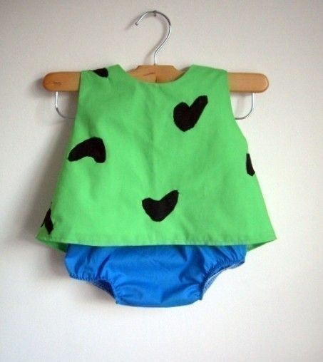 Pebbles Costume - baby - toddler - girl - Halloween Top and Bottom - raegun on E