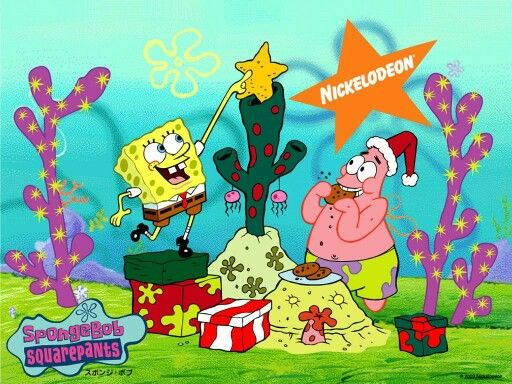 Spongebob and Patrick (Spongebob puts the star on the coral) (Patrick eat a cookie) (Christmas day)