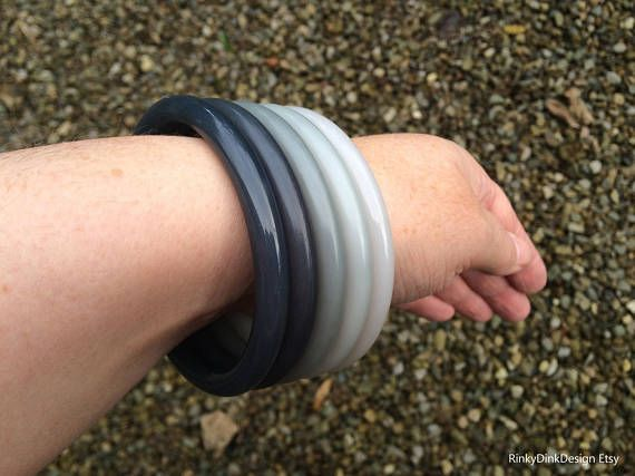 Shades of grey bangles vintage Buch and Deichmann set of 5