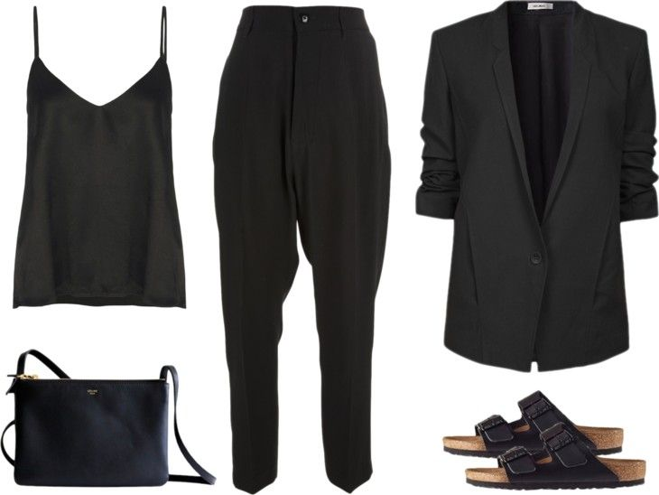 Minimal + Classic: all black with Birkenstocks -- though I might pass on the Birkenstocks and go with another black sandal...