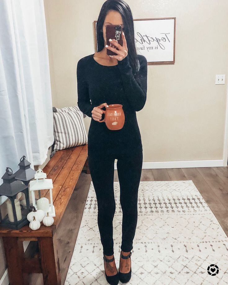 All black outfit work wear outfit work wear chic long sleeve simple style pullov…