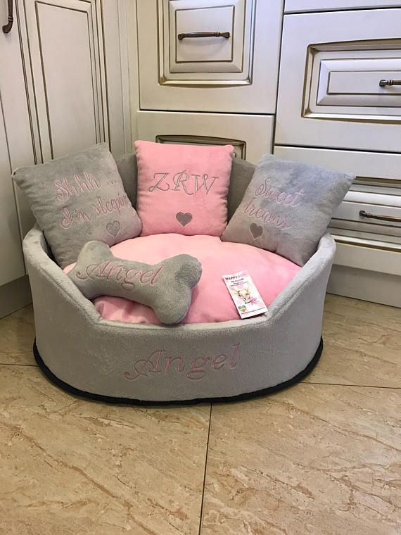 Light Gray And Baby Pink Princess Dog Bed Designer Pet Bed Cat Bed