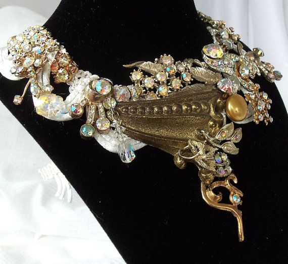 Iridescent# bridal necklace# rhinestones,# avant garde,# gold setting on# vintage silk ribbon,# OOAK