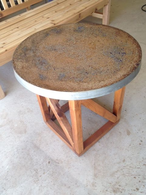 24 Round And Tall Side Table Gl Infused Concrete Wine Barrel Ring Mold Cedar Base Furniture