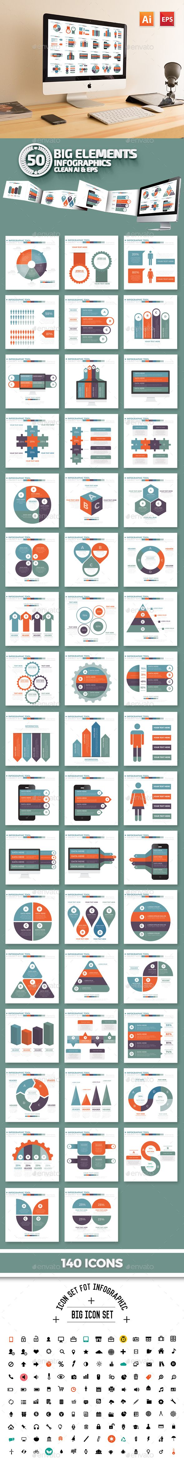 50 Infographics Design Templates Vector EPS, AI Illustrator