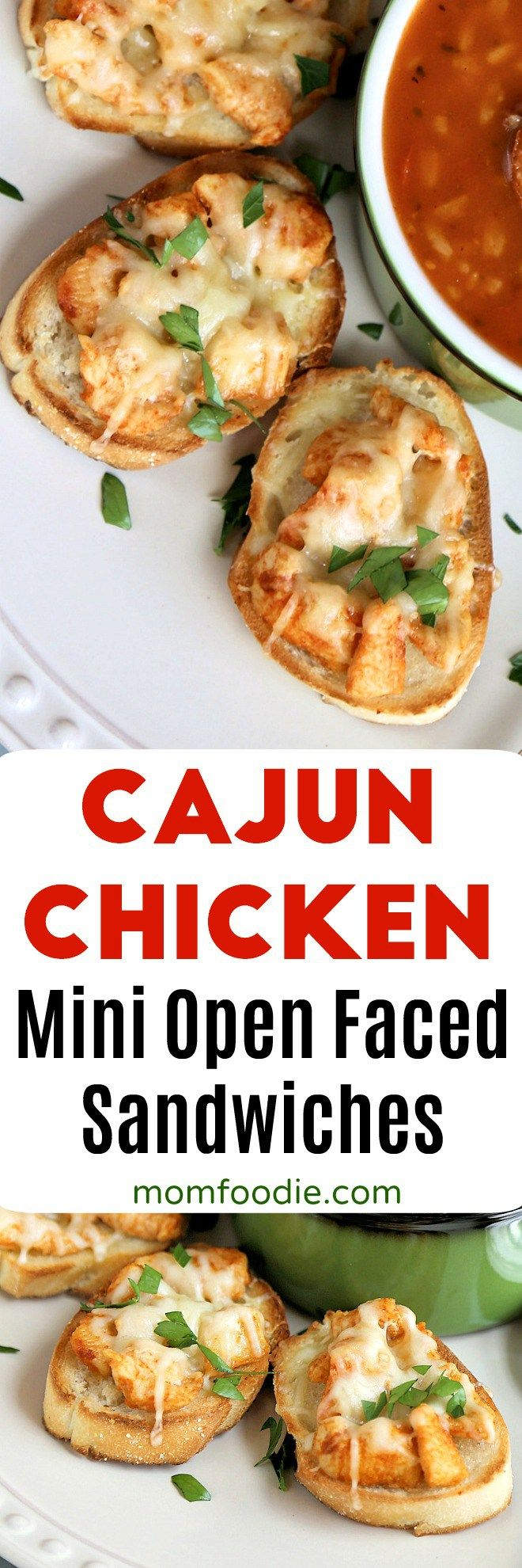 Cajun Chicken Appetizers - Mini Open Faced Sandwiches #partyfood #appetizers #footballfood #chicken #Cajun