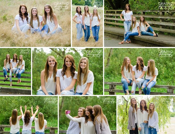 Best friend senior portraits. BFF pose ideas for three best friends. By Criativo Photography, www.criativophoto.com #bff #senior #session