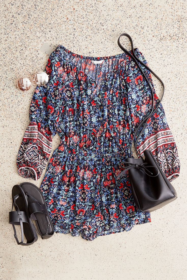 Stay cool in this breezy one-and-done print romper. #AEOSTYLE