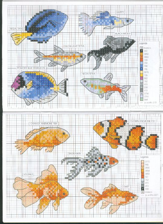 Fish Cross stitch pattern clownfish dory nemo koi goldfish betta fish siamese fighting fish