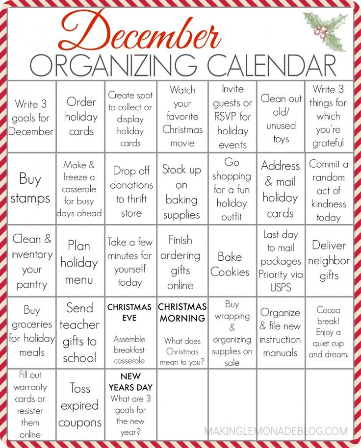 FREE PRINTABLE December organizing calendar-- your entire holiday to-do list in one spot, with some fun mixed in too!
