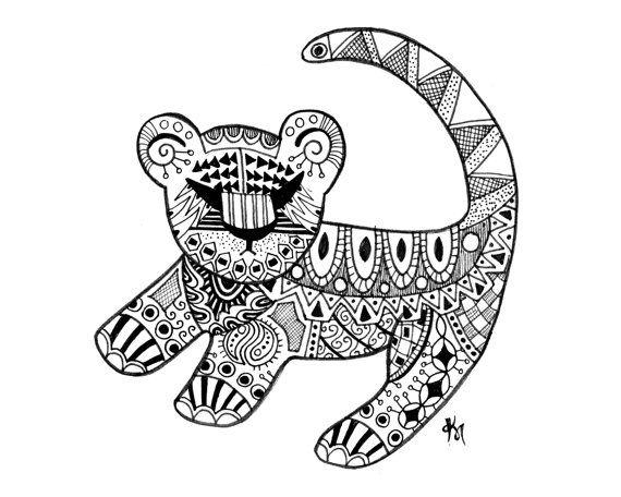 Simba encre dessin - 8 x 10 Estampe - Art abstrait - Disney Art - tendance - Tribal - Aztec - décor - le Roi Lion - cadeau Simple