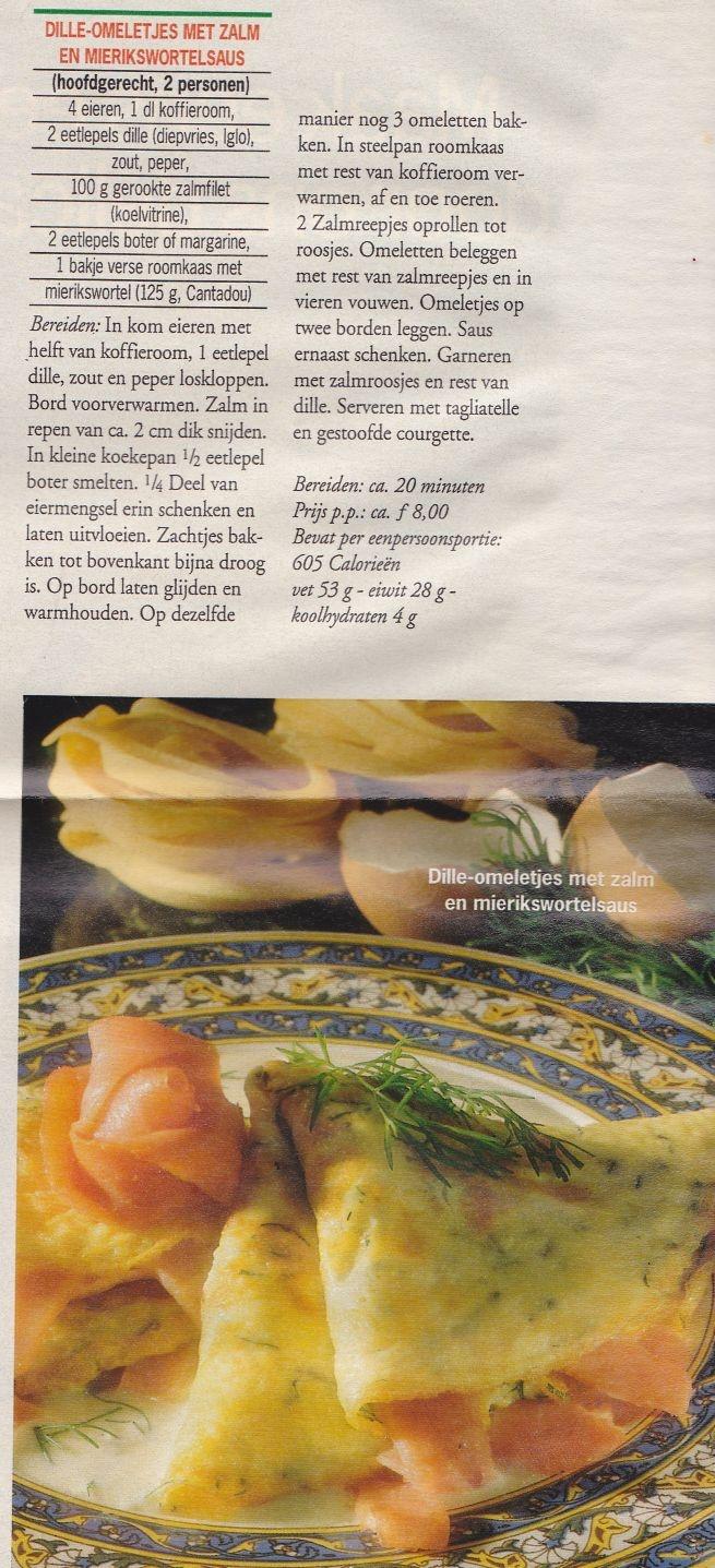 Dille omeletjes met zalm en mierikswortelsaus. Uit de AllerHande.