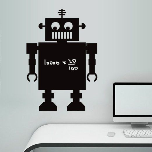VANCORE (TM)-Lavagna da muro autoadesiva cancellabile, riutilizzabile, da parete, in PVC, per lavagna per bambini Robot