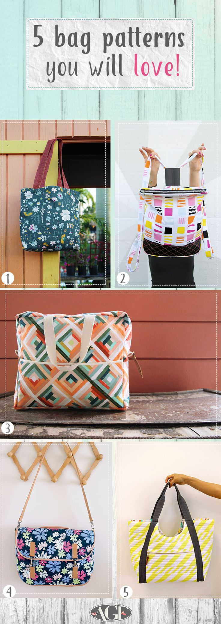 5 bag patterns you will love made with Canvas fabric!