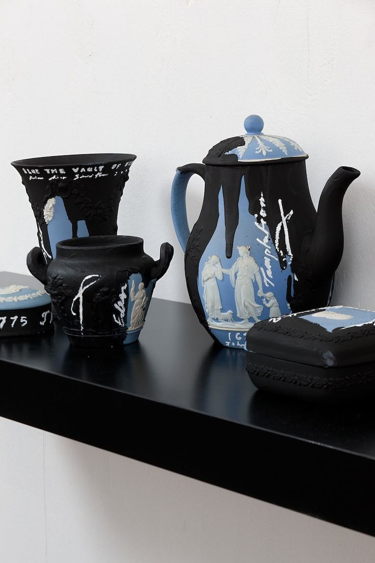 New Zealand artist Peter James Smith uses Josiah Wedgood's Jasper pots to paint and create assemblages.