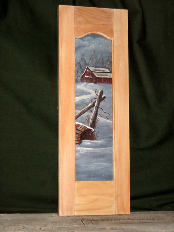 Hand Painted Shutter with barn in the snow by KathysKountry, $15.00