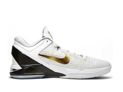 Nike Zoom Kobe 7 Elite HOme White Metallic Gold Black,Style code:511371-