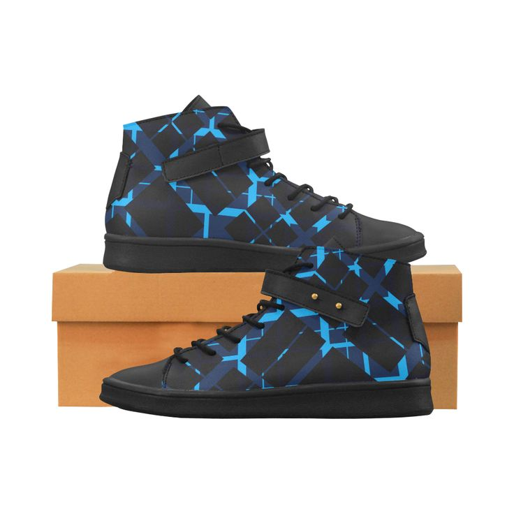 Diagonal Blue & Black Plaid Modern Style Lory High Top Mens Shoes by Scar Design. #shoes #style #fashion #sneakers #art #online #shopping #39 #geometric #family #giftsforhim #giftsforher #womensshoew #mensshoes #kidsshoes #boots #scardesign #artsadd #cheapshoes #gothic #skull #plaid #plaidshoes #gifts #pattern #dots #pop #popart #popculture #leathershoes