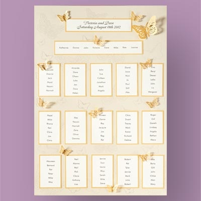 Ivory And Gold Erfly Table Plan Kit 28 99