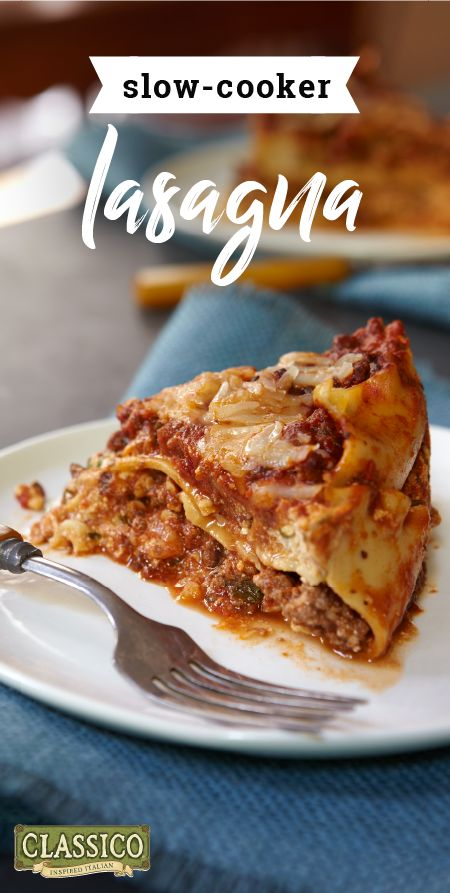 Slow-Cooker Lasagna – Enjoy your slow-cooker even more when you cook up this Italian classic! This traditional pasta dish is one of the easiest recipes ever and features 3 different kinds of cheese! No wonder it's sure to be a hit on your dinner table.