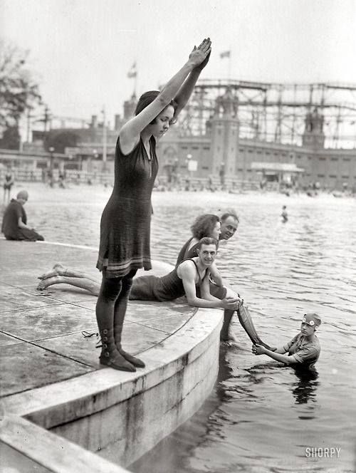 Starlight Park in the Bronx c. 1921 ~ Just one last dip before the end of summer