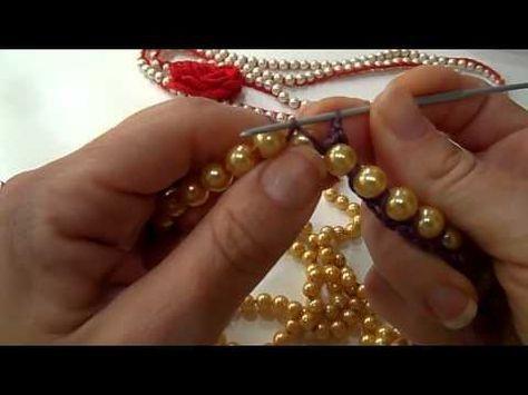 Uncinetto | Lavorazione con le Perle | Lana e Perle | Collana | Crochet Yarn and Pearls | Necklace - YouTube