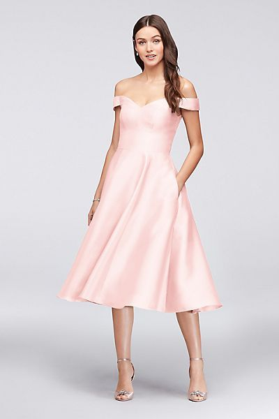 3be580f03ee blush petal pink Off-the-Shoulder Tea-Length Bridesmaid Dress from David s  Bridal
