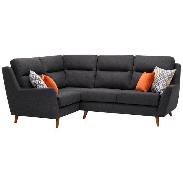 Fraser Right Hand Corner Sofa In Icon Fabric Charcoal Blue Corner Sofas Corner Sofa Fabric Sofa