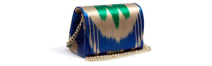 Сине - зеленая сумка - сундучок из сатина, с цепочкой